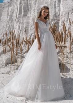 Jednoduché čipkované svadobné šaty Berta