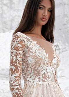 Extravagantné celokrajkové svadobné šaty Agora