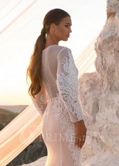 Luxusné čipkované svadobné šaty Flory