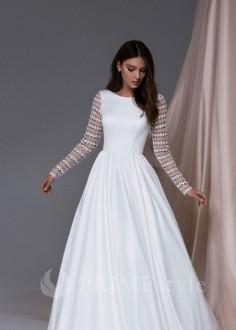 Celokrajkové svadobné šaty s dlhým rukávom Merolla