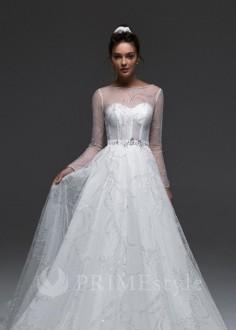 Jednoduché čipkované svadobné šaty Adele