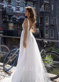 Exkluzívne svadobné šaty s dlhým rukávom Michelle