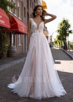 Čipkované svadobné šaty s dlhým rukávom Viva