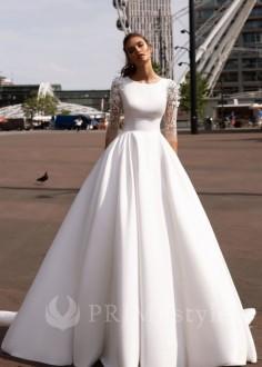 Jednoduché čipkované svadobné šaty Nancy