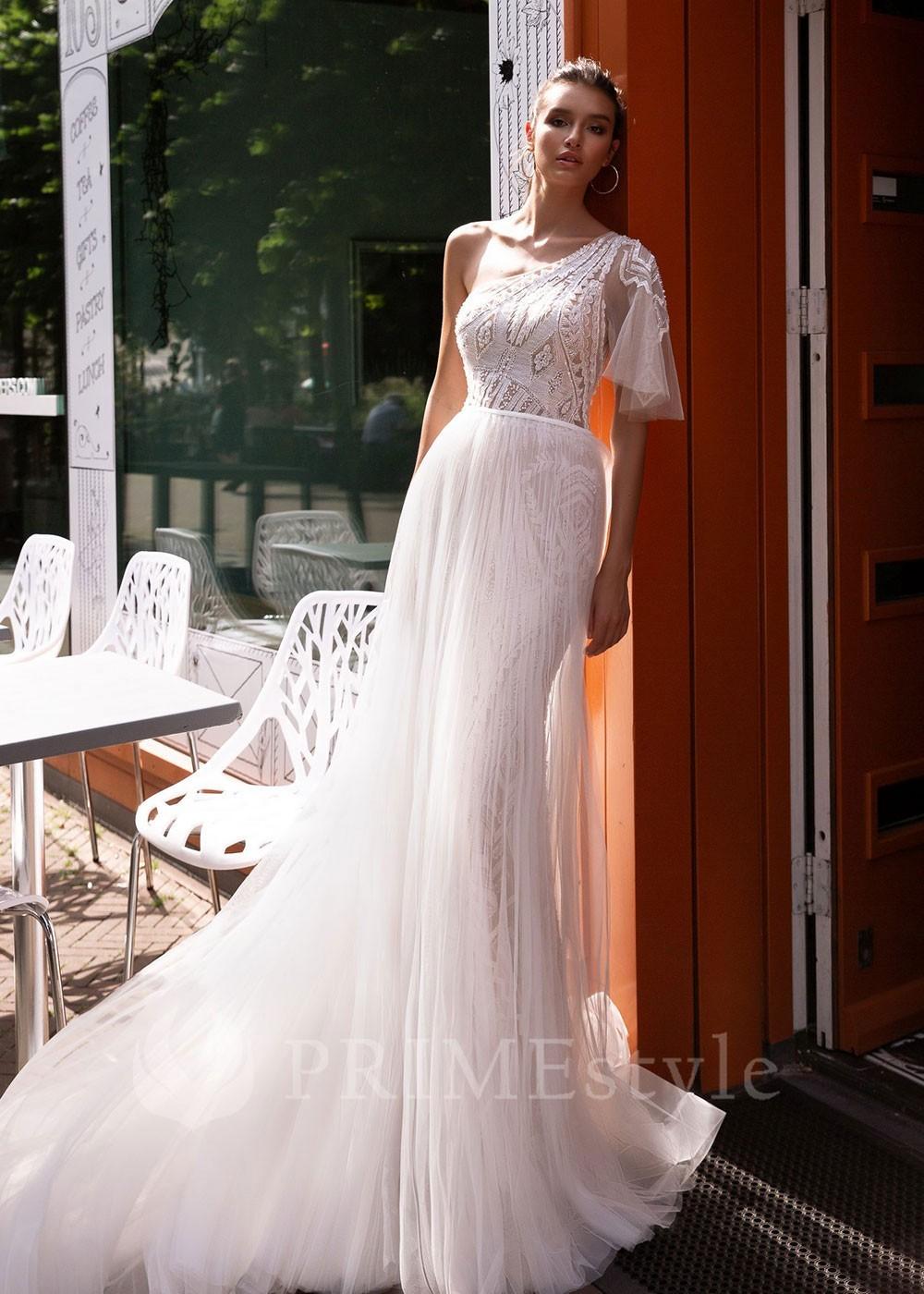 8ccd0e7316b1 Čipkované svadobné šaty s dlhým rukávom Sasha - lamode.sk